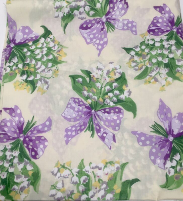 VINTAGE LILY OF THE VALLEY FABRIC CONCORD FABRICS PURPLE LAVENDER BOWS