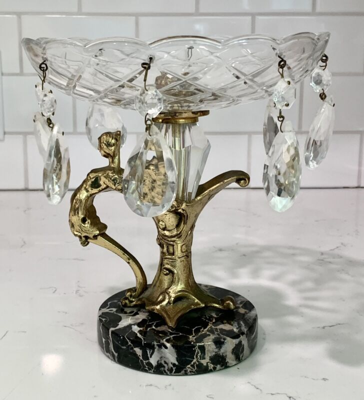 Vtg Heavy Cut Glass Brass Compote Pedestal Bowl Cut Glass Prism Cherub Baroque