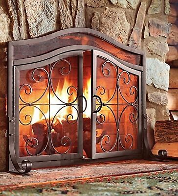 Fireplace Screen With Doors Baby Safety Iron Fireplace Panels Cover Solid Mesh
