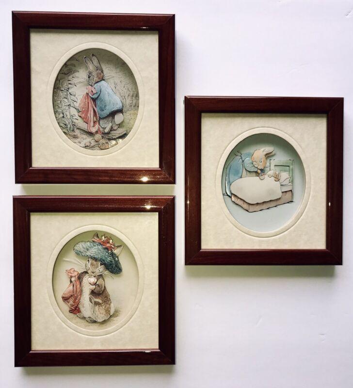 Set of 3 Beatrix Potter Children's Framed 3D Art Pictures John Ellam Collection