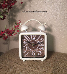 White Square Table Clock Shabby Vintage Mantle Chic Decor Cottage Home Accent