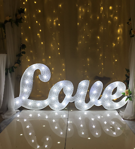 Big cursive light up LOVE letters event wedding gold coast hire Elanora Gold Coast South Preview