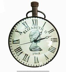 Antique Style Pocket Watch Queen Elizabeth II 1969 Desk Clock Brass Table Decor