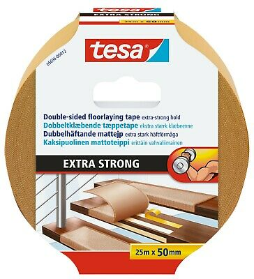 tesa Extra Strong Hold Double-Sided Carpet Tape Heavy Duty 25m:50mm