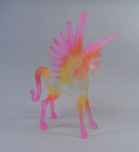 Pegasus Light Pink  Orange Yellow  Figurine of Blown Glass Crystal