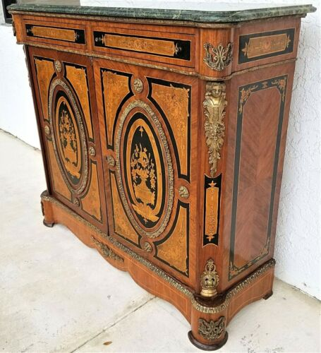French Louis XV Style Dry Bar Cabinet Server Mounted Gilt Bronze w Marble Top