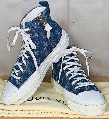 Louis Vuitton Monogram Denim High Top Women's Sneaker Shoes Sz.37/7 Authentic