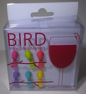 NEW In Package Set of Six Small Silicone Multi-Color Birds Wine Glass Markers