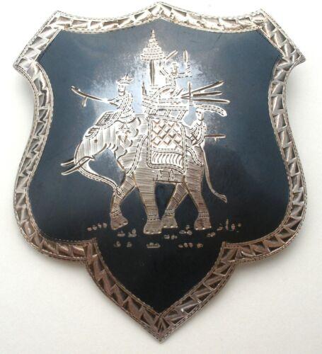 Vintage Sterling Silver Shield Brooch with Elephant Siam Niello Black Enamel Pin