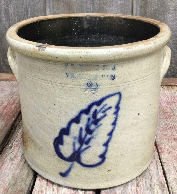 Antique  FB Norton & Sons Stoneware COBALT Leaf Crock Worcester MA Massachusetts