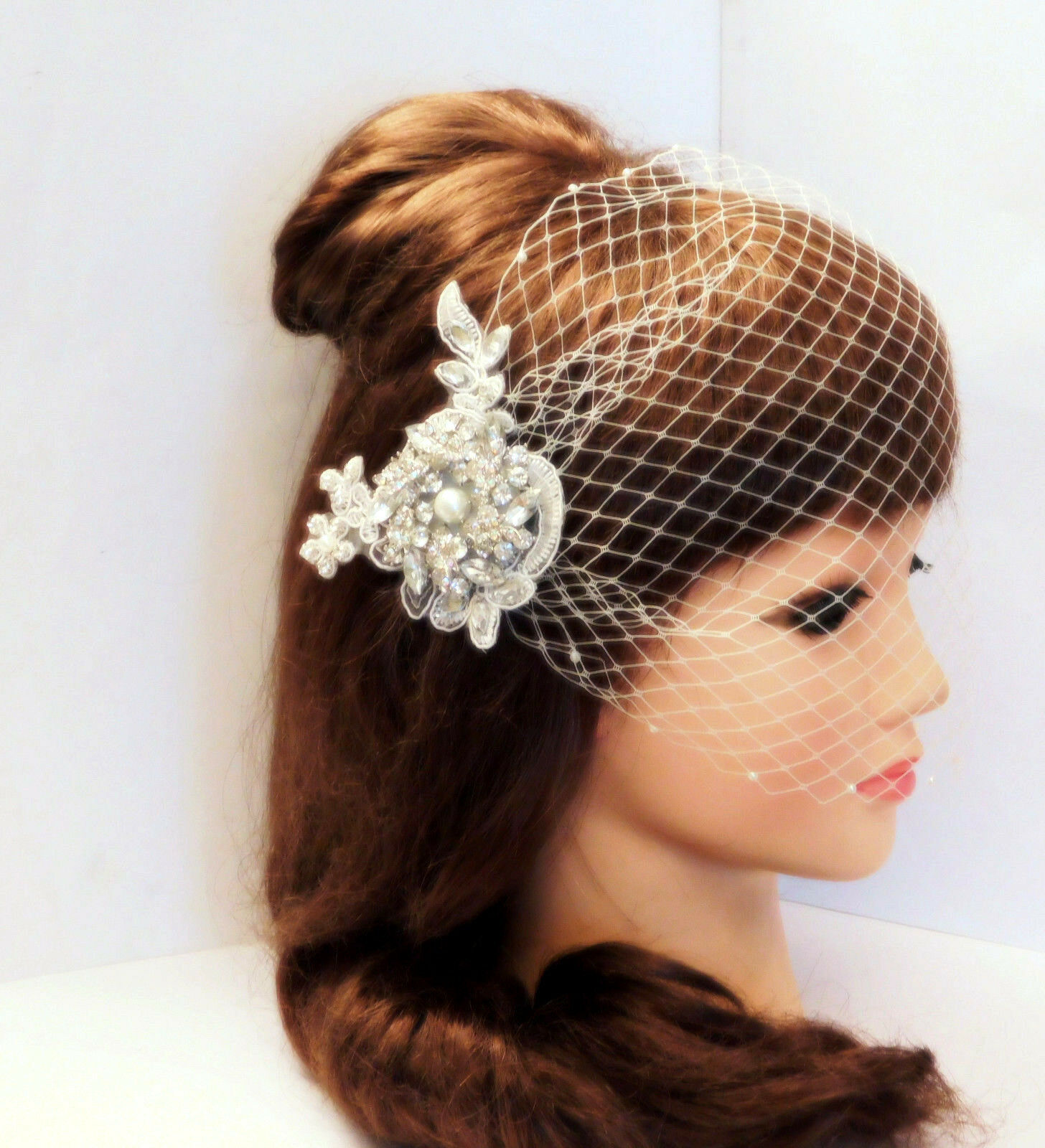 birdcage veil wedding veil Gatsby Hairclip 3D Crystal fascinator Blusher 2Pc