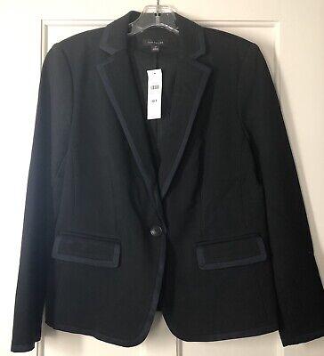 Ann Taylor Sz 10 Tall Tipped Newbury Blazer Jacket Black Navy Grosgrain Trim NWT