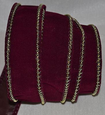 Beaded Wire Ribbon (Wired Ribbon~Christmas Burgundy Velvet~Gold Bead)