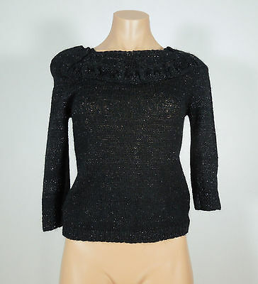 FLETCHER BY LYELL Black with Metallic Knit Sweater Top Juniors size (Lyell Metal)