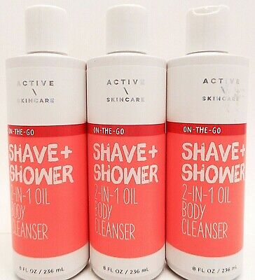 3 BATH & BODY WORKS ACTIVE SKINCARE SHAVE + SHOWER 2 IN 1 OIL BODY CLEANSER 8oz