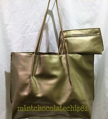 SAKS FIFTH AVENUE Gold Faux Leather Shopping Tote Purse + makeup bag NWT