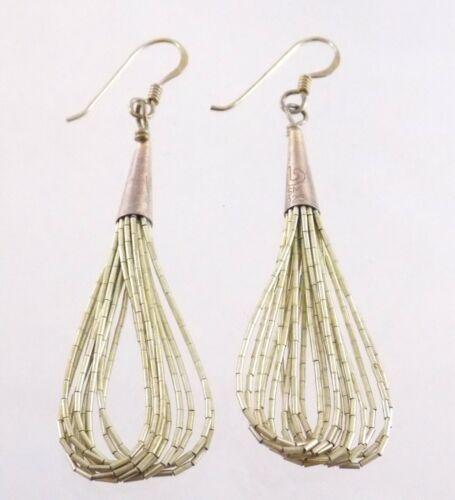 Southwestern Liquid Sterling Silver 10 Strand Drop Earrings Hooks Pierced 4.1g