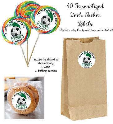 40 SOCCER Personalize STICKERS for Lollipops, goody bag, birthday party favors,