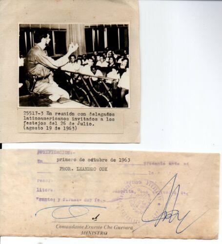 Signed Autograph by Ernesto Che Guevara Document 1963 Cuban Revolution Fidel