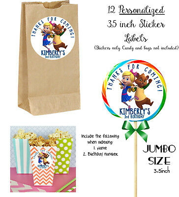 12 Goldie and Bear JUMBO STICKERS for Lollipops, goody bags, birthday party