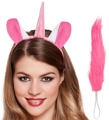 Einhorn Stirnband & Schwanz Satz - Kostüm Zubehör Pink Mädchen Kostüm Pony