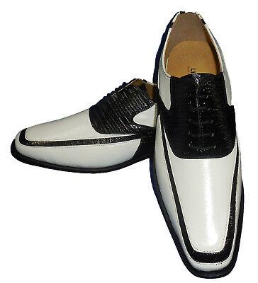 Liberty LS1108 Mens Modern Spectator Spats Dress Shoes Eggshell White + Black