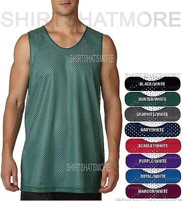 Mens Mesh Reversible Tank Wicking Basketball Sports Gym Jersey Shirt S-2XL 3XL