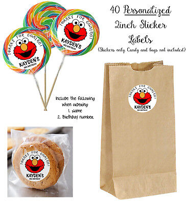 Elmo Party (40 ELMO Personalize STICKER Labels, Lollipops, goody bag, birthday party)