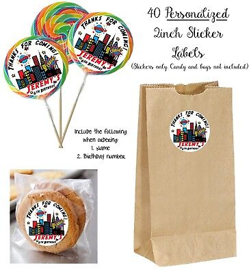 40 SUPERHERO Personalize STICKERS for Lollipops, goody bag, birthday party favor - Superhero Goodie Bags
