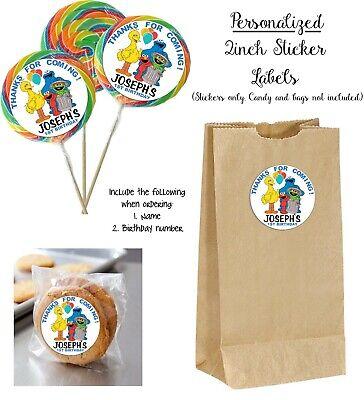 40 Sesame Street Friends CUSTOM STICKERS, Lollipops goody bag birthday party