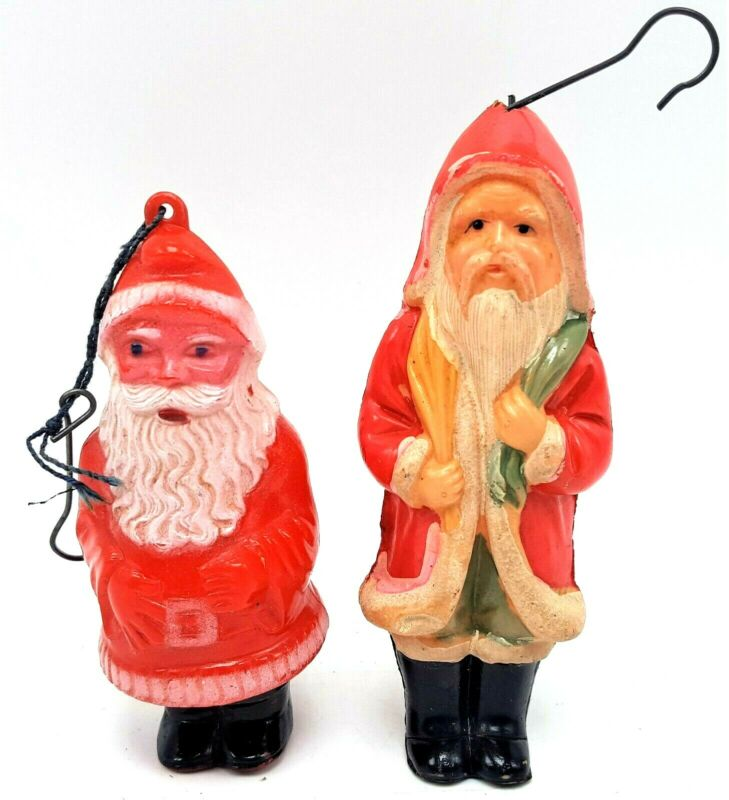 Vintage Lot 2 Plastic Santa Clause Christmas Tree Hanging Ornaments Skinny & Fat