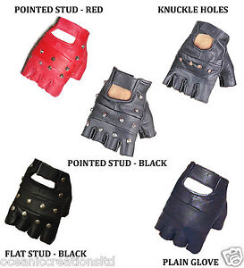 Plain-or-Studded-Fingerless-Biker-Punk-Goth-Driving-Cycling-Gloves-REAL-LEATHER
