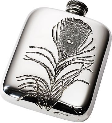 V&A Licensed Peacock Collection - 4oz Pewter Pocket Hip Flask with Feather