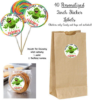 Ghostbusters Birthday Party (40 Slimer Ghostbusters STICKERS for Lollipops, goody bag, birthday party)