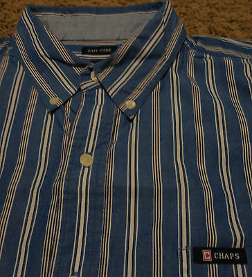 Men's CHAPS by Ralph Lauren Polo Striped EASY CARE Oxford Shirt XL Blue & White