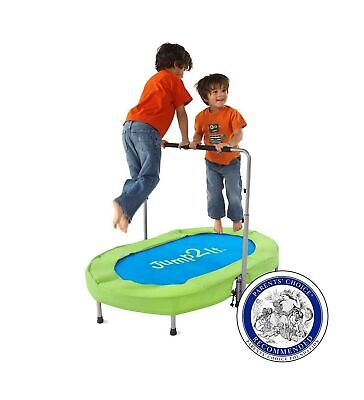 Jump2It Kids Portable 2 Person Mini Trampoline with Adjustable Central Handle...