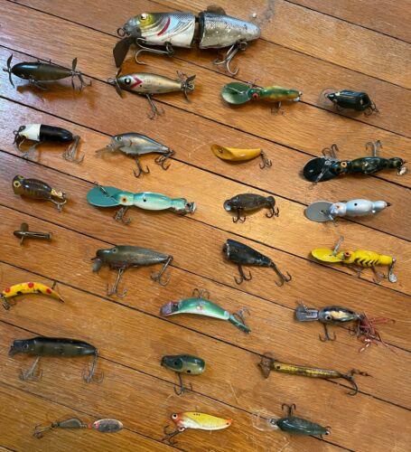 Vintage fishing lures lot of 28 Arborgast, Heddon etc