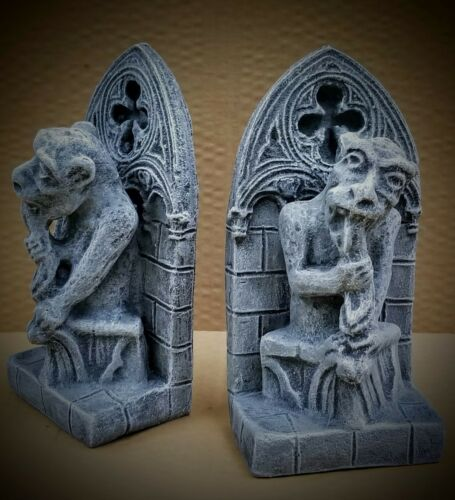 Bone Eater Gargoyle Bookends Pair Vintage Grey Finish Mythical Statue