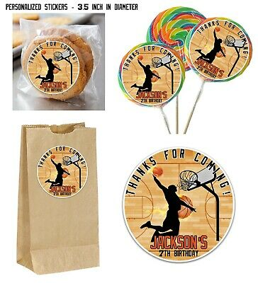 12 Basketball silhouette dunk JUMBO Stickers for Lollipops goody bags, Birthday - Basketball Goodie Bags