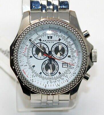 Akribos XXIV Ultimate Men's White Chronograph Silver steel Quartz Watch AK517WT