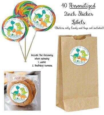 Custom Favor Bags (40 Baby Dinosaur Custom Stickers for Lollipops, goody bag, birthday party)