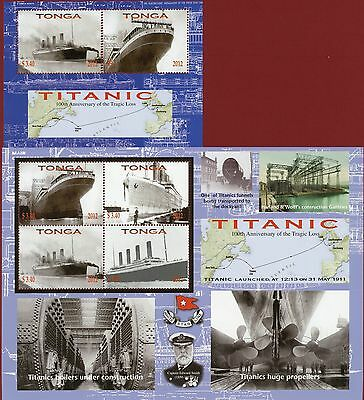 Tonga #1178-79, Sheet of 2 & 4, Titanic Ship, SCV $20.50