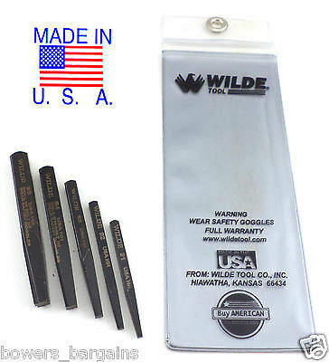 Wilde Tool 5pc Screw & Bolt Extractor Set MADE IN USA Premiu
