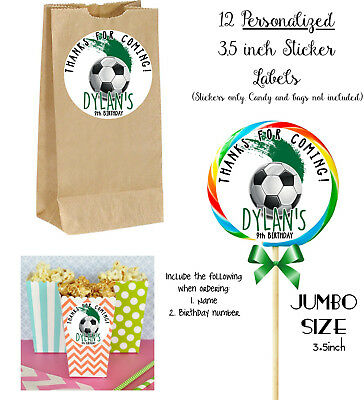 12 Soccer JUMBO Stickers, for Lollipops, goody bags, party favors, Birthday