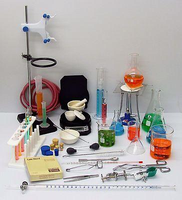53 Piece Professional Lab Chemistry Set Glassware Hardware Balance Burner