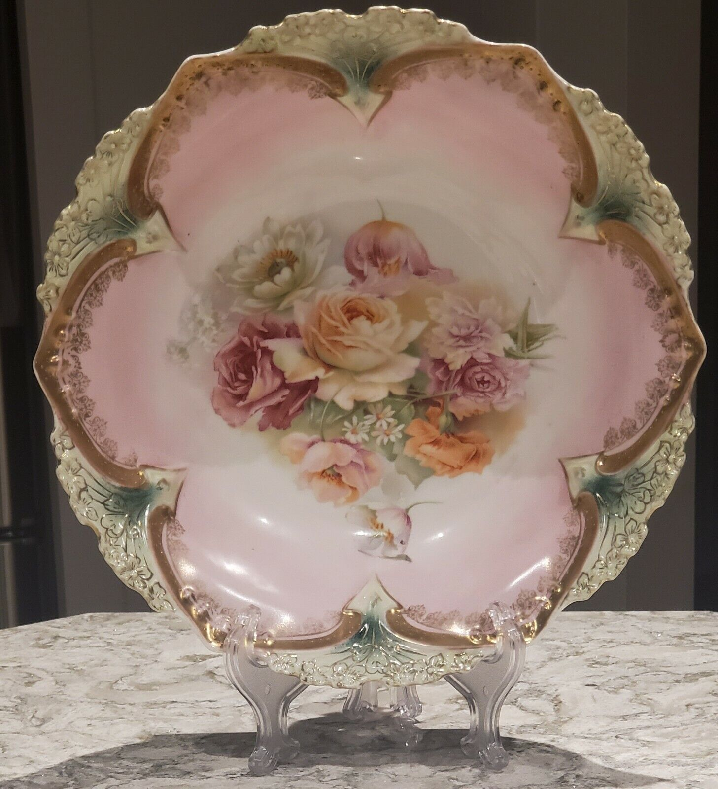 Antique R.S Prussia Bowl - Red Mark - Pink, Green Trim with Cabbage Roses - 1900