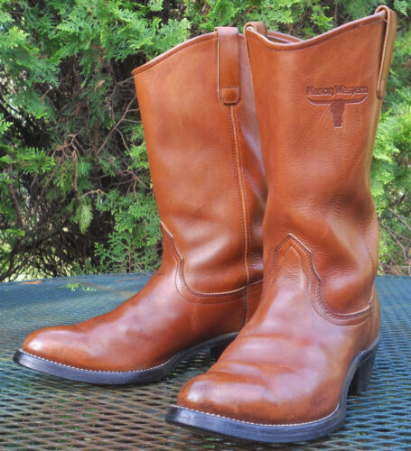 VINTAGE USA MASON BROWN HARNESS LEATHER WESTERN BOOTS Cowboy Rodeo Womens 9B