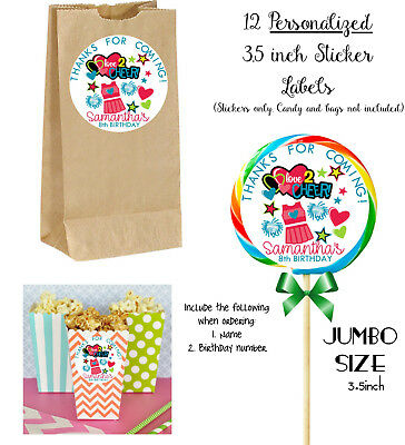 12 Cheer JUMBO Stickers, for Lollipops, goody bags, party favors, Cheerleading](Cheer Party Favors)