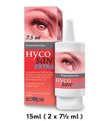 Hycosan Extra Dry Eye Drops 15ml (2 x 7.5ml) Scope Preservative Free NEW