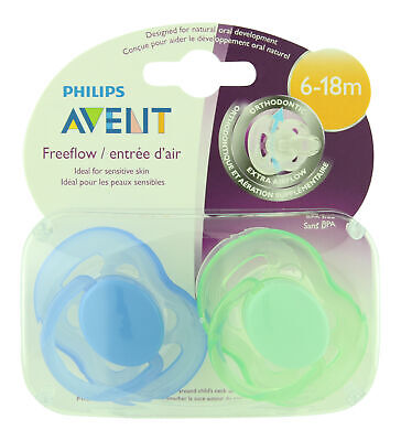 Philips Avent Freeflow Pacifier 6-18m Blue/Green 2 ct. Seale